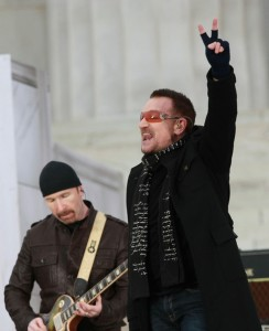 Bono and Edge at the 2009 Presidential Inauguration // Photo by Justin Sullivan/Getty Images North America