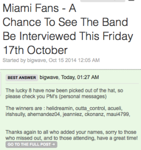 U2.com moderator bigwave posted the Zootopia winners at 8:27 p.m. Thursday—less than 24 hours before the Miami interview.