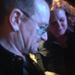 From one megalomaniac to another. Beth talking, Bono listening. A rare reversal. (Photo: Melanie Reublin Morrill)